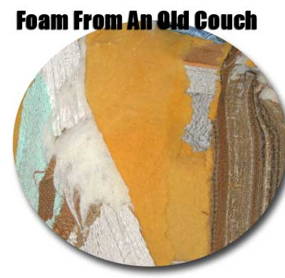 image of old couch with foam for covering the microphone