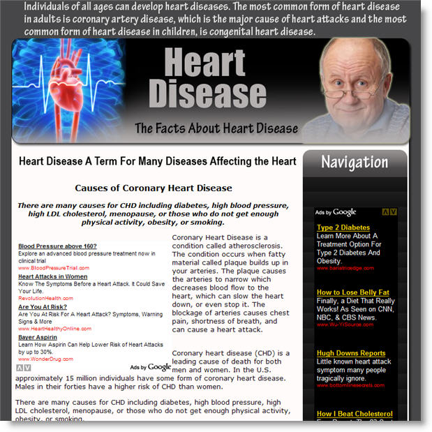 heart disease minisite for niche health products