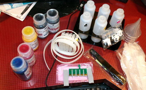 Picture of InkJetCarts CISS ink supply system for refilling ink cartridges