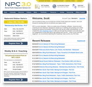 niche profit classroom homepage